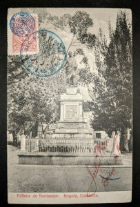 Vintage Santander Statue Bogota Columbia to France Real Picture Postcard Cover