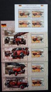 German firetrucks  - Congo 2006 - sheet + complete set of 4 ss imperf ** MNH