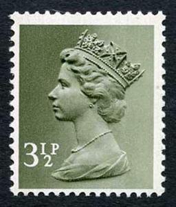 SGX858 Var 1971 3 1/2p olive-grey scarce off-white paper greenish tint dextrin