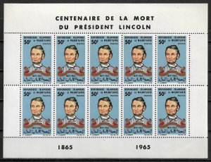 1965 Mauritania 190 Abraham Lincoln MNH complete sheet of 10