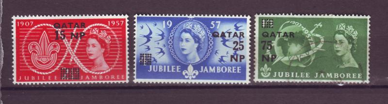 J14975 JLstamps 1957 qatar set mh #16-8 queen ovpt,s