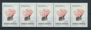 [I434] Argentina 1987 flowers good strip of 5 stamps very fine MNH