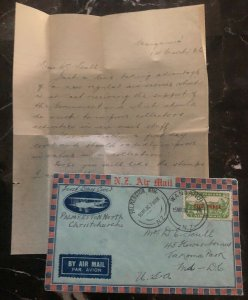 1936 Wanganui New Zealand First Day Airmail Cover FDC To Takoma Park Usa MXE
