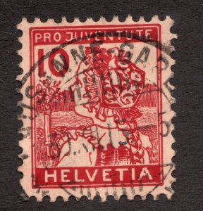 Sc B3 - Switzerland - 1915 - 10 - Used w/ cds cancel- superfleas - cv$87.50