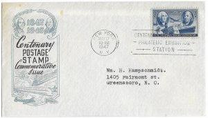 #947 FDC, 3c Stamp Centenary, Ioor cachet - single/block of 4