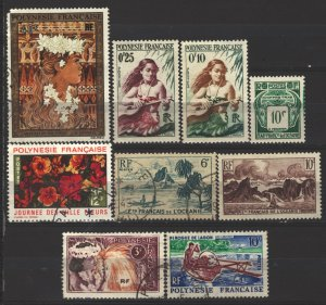 COLLECTION LOT # 5077 FRENCH POLYNESIA 9 STAMPS 1948+ CV+$14