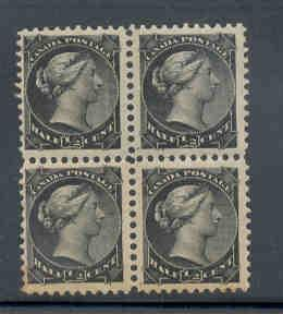 Canada Sc 34 1/2c small Queen stamp mint block of 4