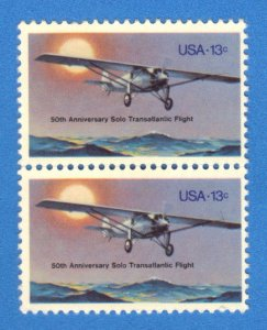 USA SC# 1710 MNH  13c 1977 PAIR  SOLO TRANSATLANTIC FLIGHT   SEE SCAN