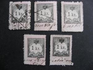 Austria 5 U smaller 1 kr revenues collector believed had varieties or errors