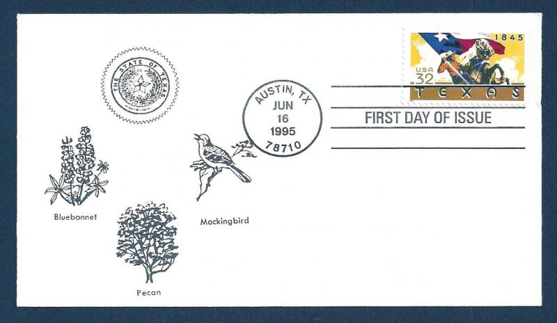 UNITED STATES FDC 32¢ Texas 1995 cacheted
