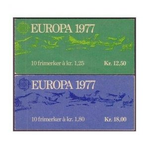 Norway 693-694 two booklets,MNH.Michel 742-743 MN. EUROPE CEPT-1977.Views,Falls.