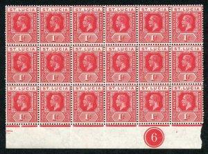 ST LUCIA SG79b 1912-21 Wmk MCA 1d rose-red block of 18 plate number 6 U/M