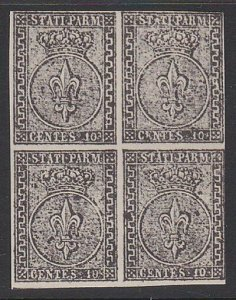 ITALY PARMA An old forgery of a classic stamp - Block of 4..................C190