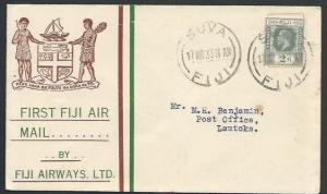 FIJI 1933 first flight cover - Suva to Lautoka.............................25781