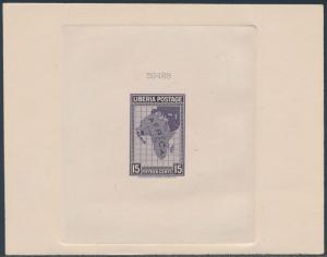 LIBERIA #235P DIE PROOF ON INDIA SUNK ON CARD W/ CONTROL # DULL VIOLET BS3473