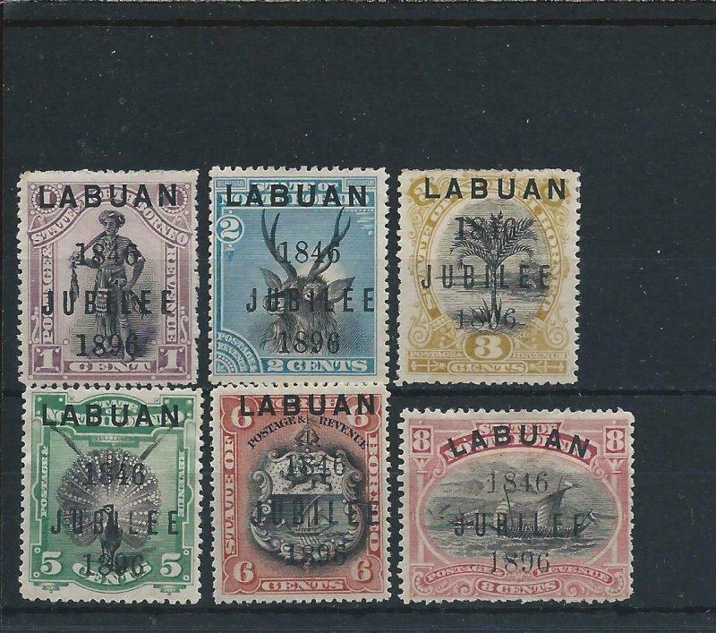 LABUAN 1896 JUBILEE SET OF SIX MM SG 83/88 CAT £250