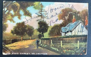 1909 Croydon England Picture Postcard Cover To Tenerife Spain Oaks RD Shirley