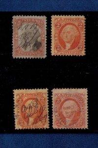 US Sc R15x2MH &USED,R135 USED,and R6 (4 stamp lot) back of book US Revenue F-VF