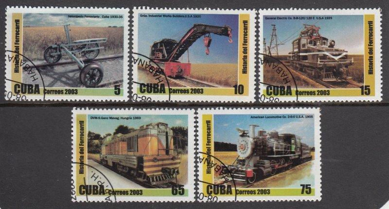 Cuba Used 4321-5 Trains 2003