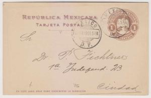 MEXICO 1905 PS H&G 115 CARD PRINTED BY GERMANY SOCIETY USED IN DF VF SCARCE