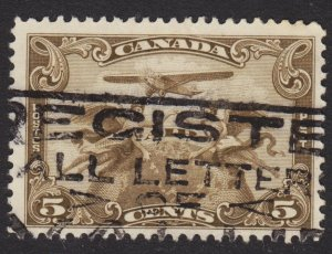 Canada Scott C1 F to VF used. Beautiful promotional SON cancel. Register mail.
