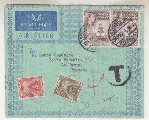 GOLD COAST, 1954 Airletter QE 2d.(2), SEKONDI A to France, Taxed 3f. & 20f.