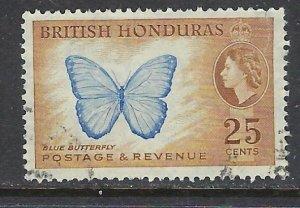 British Honduras 151 Used 1953 Butterfly (ap6822)