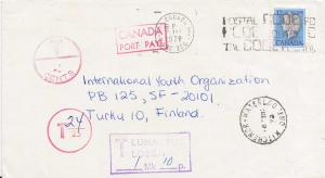 Canada 12c QEII Cameo 1978 Kitchener-Waterloo, Ont. Airmail to Turku, Finland...