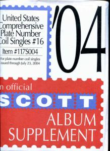 Scott US Plate Number Coil Singles #16 Thru 2004  Supplement New