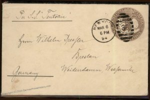 USA 1894 Steamer Teutonic Germany Columbian Postal Stationery Transatlanti 95711