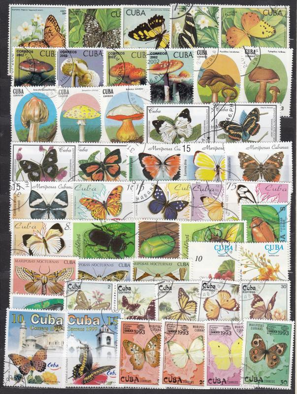 Cuba - 100+ Butterflies. flowers, insects and mushrooms stamps lot .# 8 (1699)