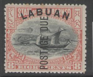 LABUAN SGD6 1901 8c BLACK & VERMILION TONING MTD MINT