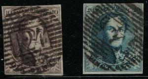 Belgium 10-11 King Leopold I (used&Hinged) 1858