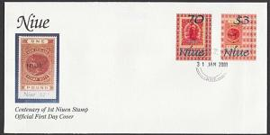 NIUE 2001 Centenary first Niue stamps FDC..................................27815