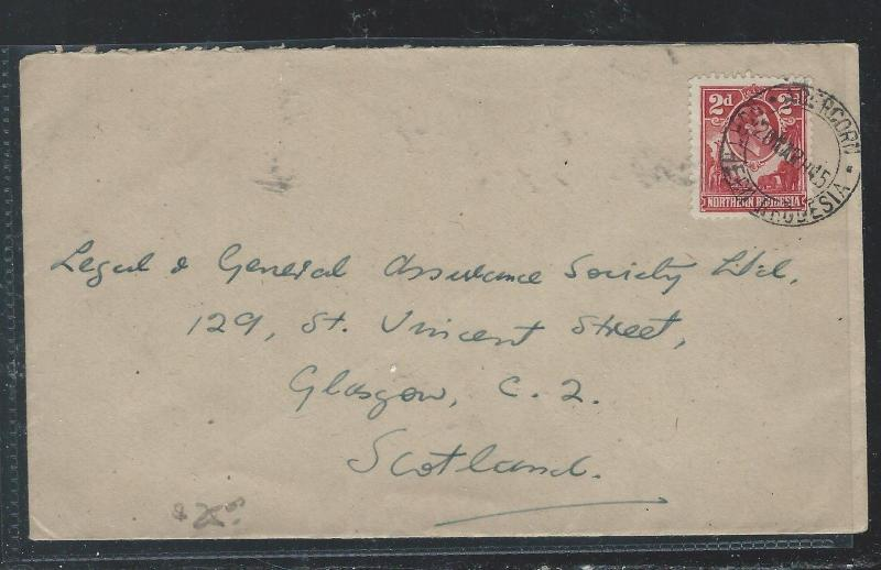 NORTHERN RHODESIA  (P2209B) KGVI , ELEPHANT 2D RED 1945 COVER TO SCOTLAND