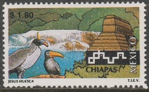MEXICO 1961 $1.80 Tourism Chiapas, birds, pyramid. Mint, Never Hinged F-VF.