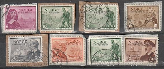 #279-81,283,287,289 Norway Used on paper