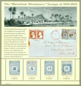 US: 2002 HAWAIIAN MISSIONARY STAMPS; Sheet of 4 - Sc 4414; 37 Cents Values
