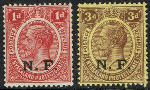 TANGANYIKA 1916 NF OVERPRINTED KGV 1D AND 3D