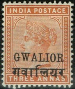Gwalior 1885 3a Orange SG24c Fine & Fresh Lightly Mtd Mint no gum
