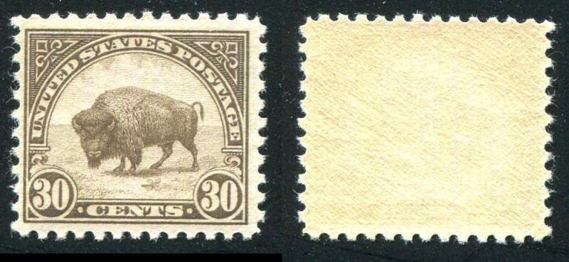 U.S . 569 30¢ 1923 Flat Plate Brown Bison VF Mint Never Hinged CV $50.00
