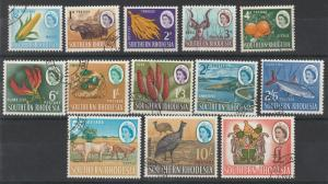 SOUTHERN RHODESIA 1964 QEII PICTORIAL RANGE TO 1 POUND USED