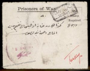 UK 1918 WWI Turkey Brtish POW Camp THAYETMYO BURMA Cover 90430