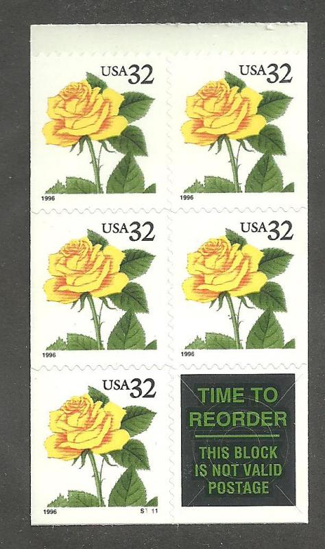 #3049 Yellow Rose Pane of 5 with plate no.  Mint NH