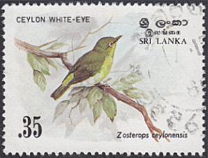 Sri Lanka # 692 used ~ 35¢ Bird - Ceylon White-eye
