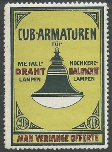 Cub-Fittings for Metal Wire Lamps, Germany, Early Poster Stamp, Cinderella Label