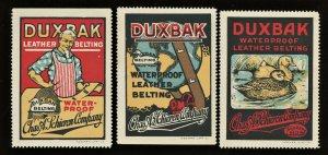 1910s DUXBAK LEATHER BELTING UNCLE SAM, DUCKS ( US Poster Stamp X3 )