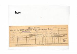 BC174 1892 GB Midland Railway Parcel Way Bill {samwells} PTS