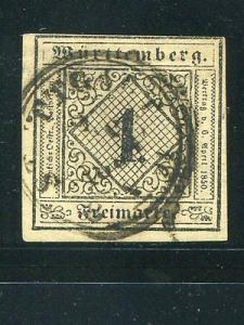 Wuerttemberg  Mi #1c Used F-VF  EUR 600    Lakeshore Phil...