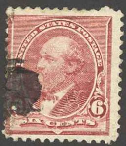 USA Sc# 224 Used 1890 6¢ brown red James A. Garfield